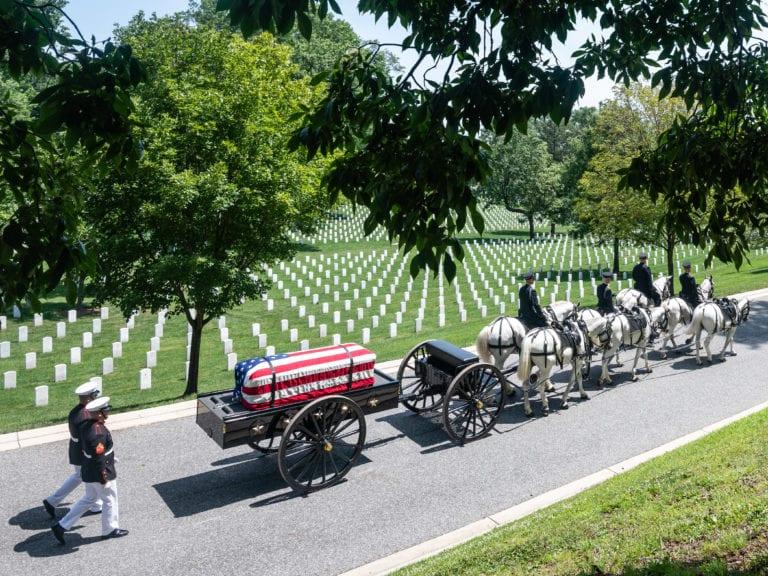 US Marines escort an Arlington Cemetery Caisson