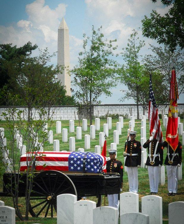 U.S. Marine Corp Honor Guard Positioning for a Transfer Near Patton Circle | Arlington cemetery photography | Arlington media, inc.