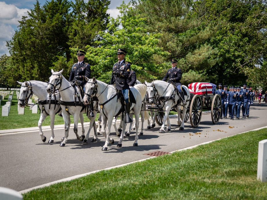 US Army Caisson on Farragut Drive | arlington cemetery funeral picture | Arlington media, inc.