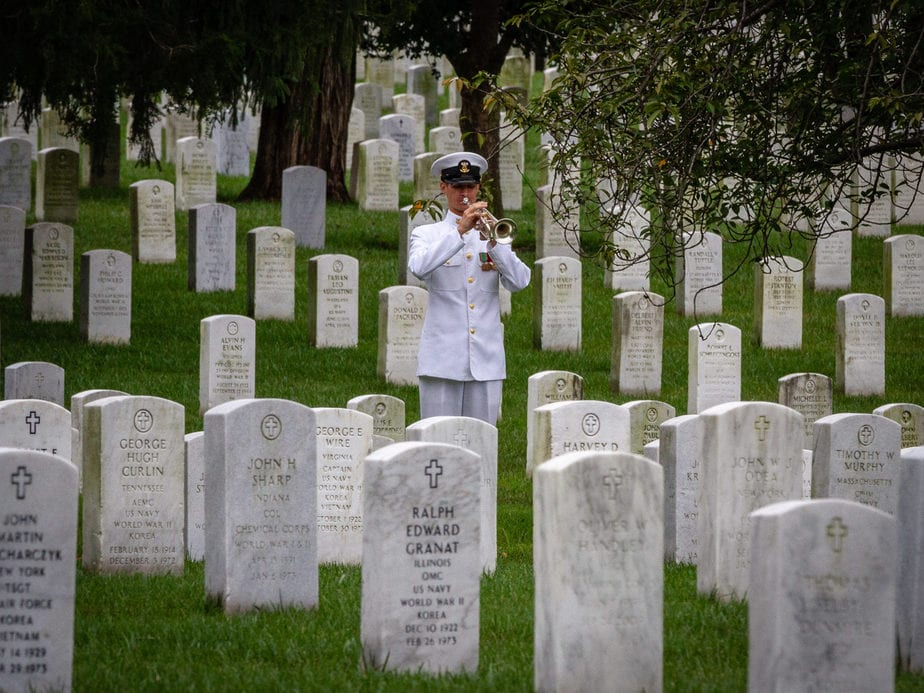 US Navy Bugler in Arlington National Cemetery Section 12A | Arlington media, inc.
