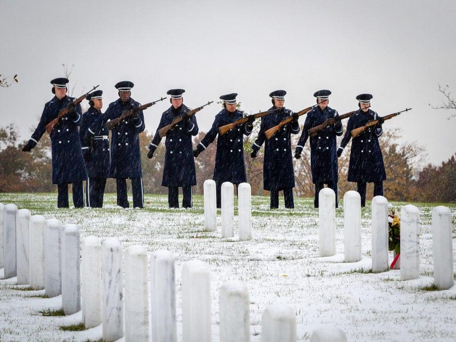 US Air Force Firing Party in Section 62 Arlington National Cemetery | Arlington media, inc.