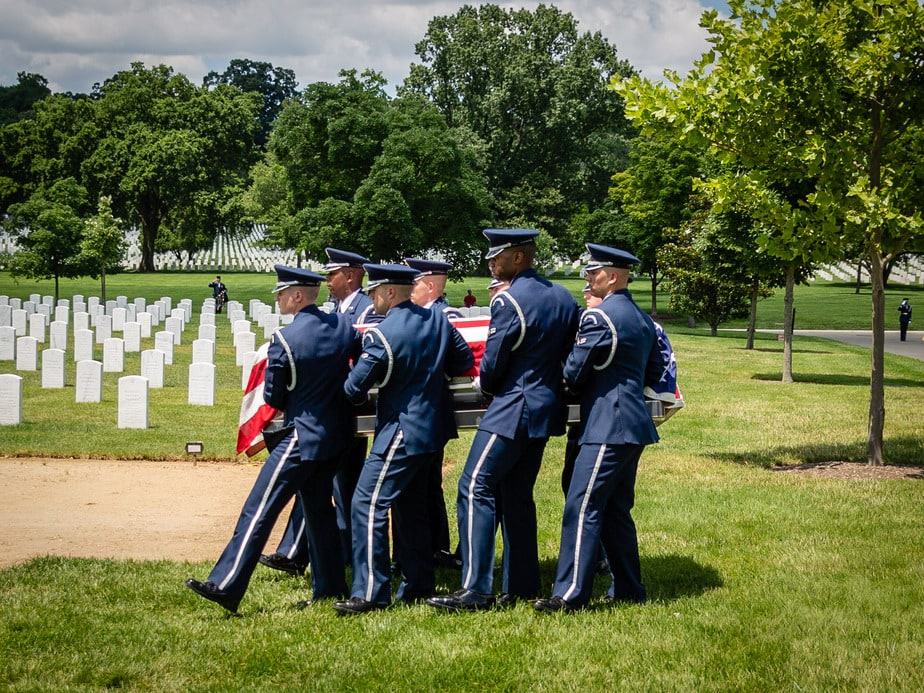 US Air Force Casket Team in Section 55 Arlington National Cemetery | Arlington media, inc.