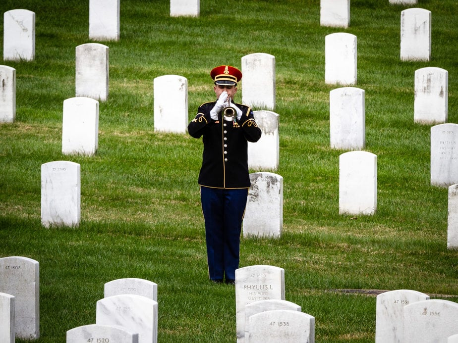 US Army Bugler in Arlington National Cemetery Section 12 | Arlington media, inc.