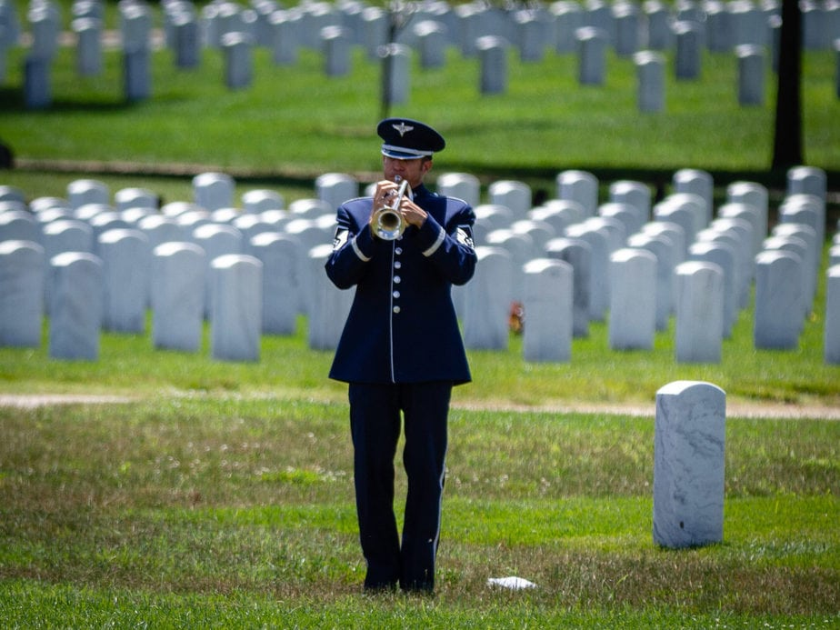 US Air Force Bugler in Arlington National Cemetery Section 55 | Arlington media, inc.