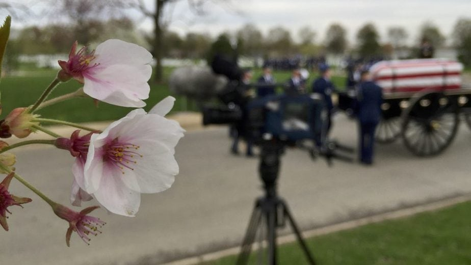 Waiting for a service to start at Patton Circle with the US Air Force | Arlington National Cemetery | Arlington media, inc.