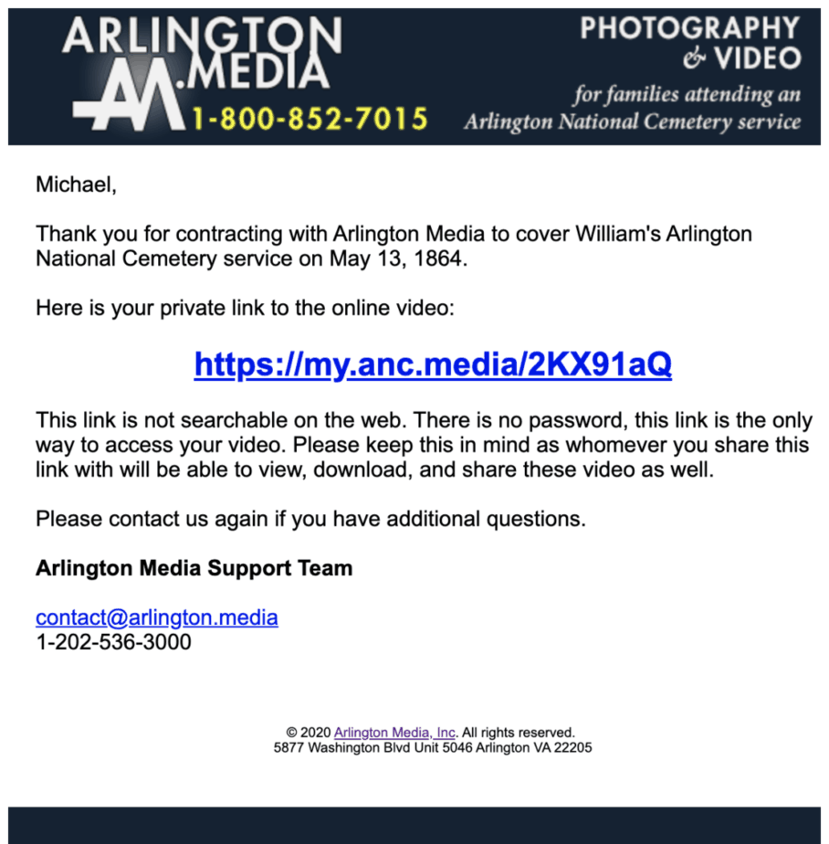 email template | arlington national cemetery Video Online | Arlington Media, Inc.