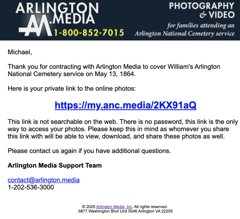 email template | arlington national cemetery Photo Online | Arlington Media, Inc.